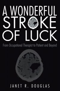 Book cover of A Wonderful Stroke of Luck featuring Janet Douglas's brain MRI with a hemorrhage on the right side.