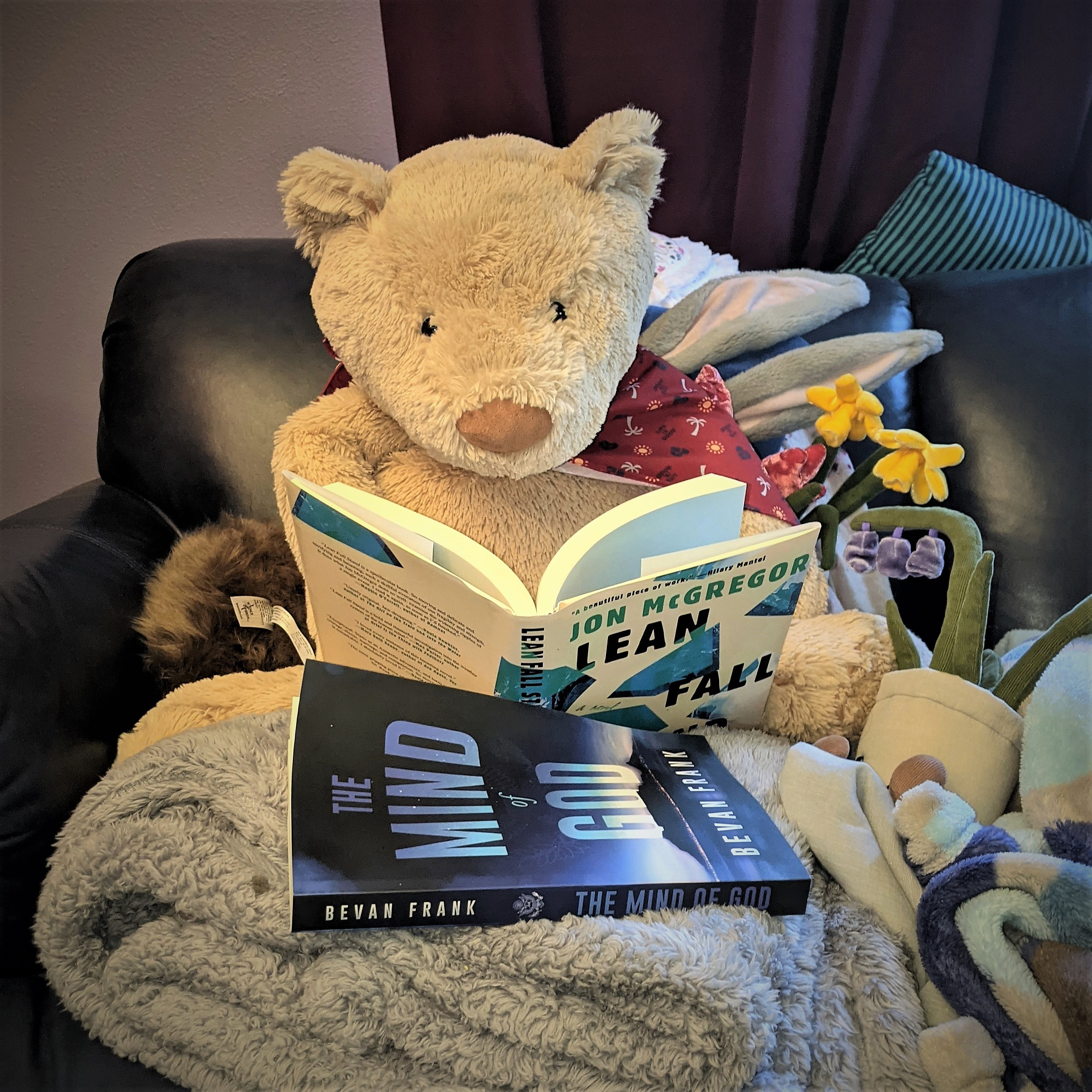Oatmeal, a light-brown Jellycat brand teddy bear, sits on a couch and read's Jon McGregor's Lean Fall Stand